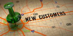 New Customers - Green Pushpin on a Map Background. Stock Illustration