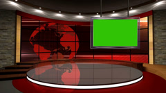 News TV Studio Set 07 - Virtual Green Screen Background Loop Stock Footage