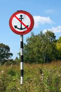 """traffic sign with anchor """"no parking"""" for vessels.. - stock photo"""