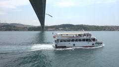 Passing under the Fatih Sultan Mehmet Bridge in Istanbul Turkey (Editorial) Stock Footage