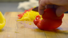 knife cuts vegetables - stock footage