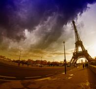 The Eiffel Tower in Paris, seen from Iena Bridge with Dramatic W Stock Photos