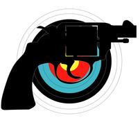 hand gun target - stock illustration