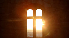 Window medieval castle sunrise, Castelo Branco Portugal Stock Footage