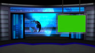 News TV Studio Set 13 - Virtual Green Screen Background Loop Stock Footage