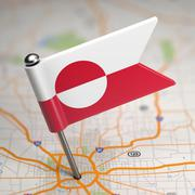 Stock Illustration of Greenland Small Flag on a Map Background.