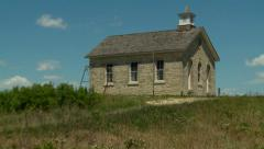 Kansas Flint Hills old stone Schoolhouse ZO Stock Footage