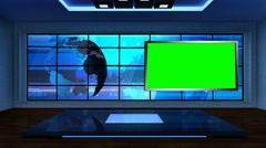 News TV Studio Set 09 - Virtual Green Screen Background Loop - stock footage