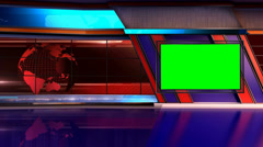 News TV Studio Set 11 - Virtual Green Screen Background Loop - stock footage