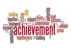 Stock Illustration of achievement word cloud