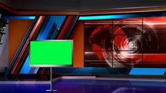 News TV Studio Set 10 - Virtual Green Screen Background Loop - stock footage
