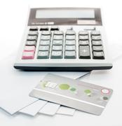 Credit card and Calculator on whit Envelope isolate Stock Photos
