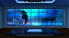 News TV Studio Set 08 - Virtual Green Screen Background Loop Stock Footage