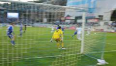 Soccer goalkeeper's saving Stock Footage