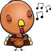 Cartoon baby turkey singing Stock Illustration