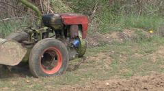 Old motor hoe in field Stock Footage