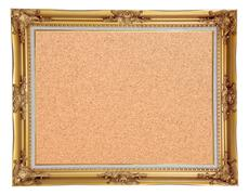 Stock Photo of isolated cork notice board with vintage frame