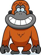 Stock Illustration of cartoon orangutan grin