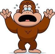 cartoon bigfoot panicking - stock illustration