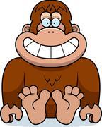 cartoon bigfoot sitting - stock illustration