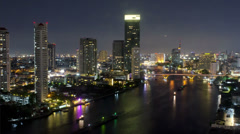 Bangkok Night Time Lapse View of Bridge over the Chao Phraya River Stock Footage