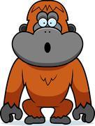 orangutan surprised - stock illustration