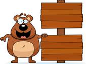 Cartoon bear sign Stock Illustration