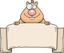 cartoon hamster banner - stock illustration