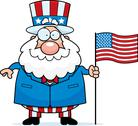 Stock Illustration of cartoon patriotic man flag