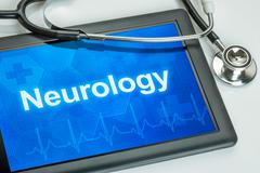 Tablet with the medical specialty neurology on the display Stock Illustration
