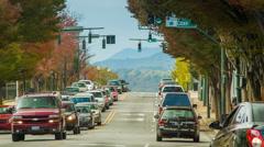 View Down Asheville Citys Patton Avenue Towards Blue Ridge Mountains Stock Footage