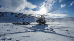 Military Helicopter Takeoff in Cold Snowy Environment snow winter Stock Footage