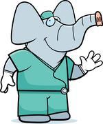 Cartoon elephant doctor Stock Illustration