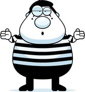 cartoon mime shrug - stock illustration