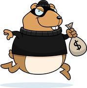 cartoon hamster burglar - stock illustration