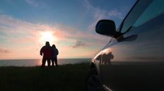 Traveling to the sea shore by car - stock footage