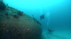 Lone diver on wreckage in Australia, HD, UP23215 Stock Footage
