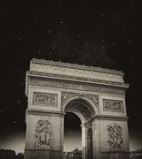 Black and White dramatic view of Triumph Arc in Paris, France Stock Photos