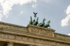 Quadriga sculpture on top of Berlin Brandenburg Gate Stock Photos