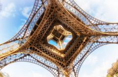 Eiffel Tower glory on a cold and sunny Winter day in Paris Stock Photos