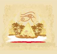 Stock Illustration of vintage background  with pyramids giza