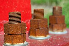 Rusty bolts Stock Photos