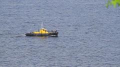 Tug boat sails on a sea in Ukraine Stock Footage