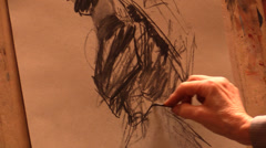 Artist drawing In Art Gallery Stock Footage
