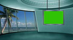 News TV Studio Set 20 - Virtual Green Screen Background Loop Stock Footage