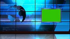News TV Studio Set 18 - Virtual Green Screen Background Loop Stock Footage