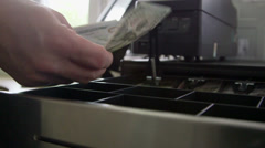 Stock Video Footage of Cashier counting new one hundred dollars