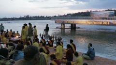 Rishikesh-Ganga Aarti preparation Stock Footage