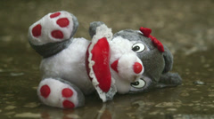 Lost Valentines day gift soft toy in the rain Stock Footage