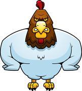 cartoon muscular rooster - stock illustration